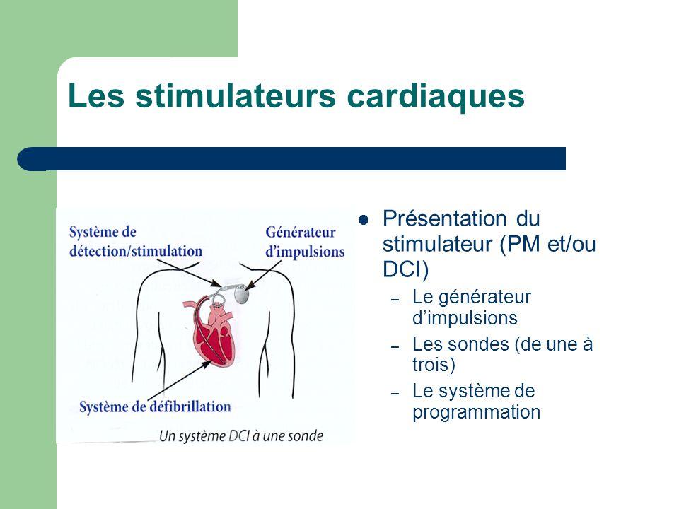 Les stimulateurs cardiaques Présentation du stimulateur (PM et/ou DCI) – Le générateur d'impulsions – Les sondes (de une à trois) – Le système de programmation