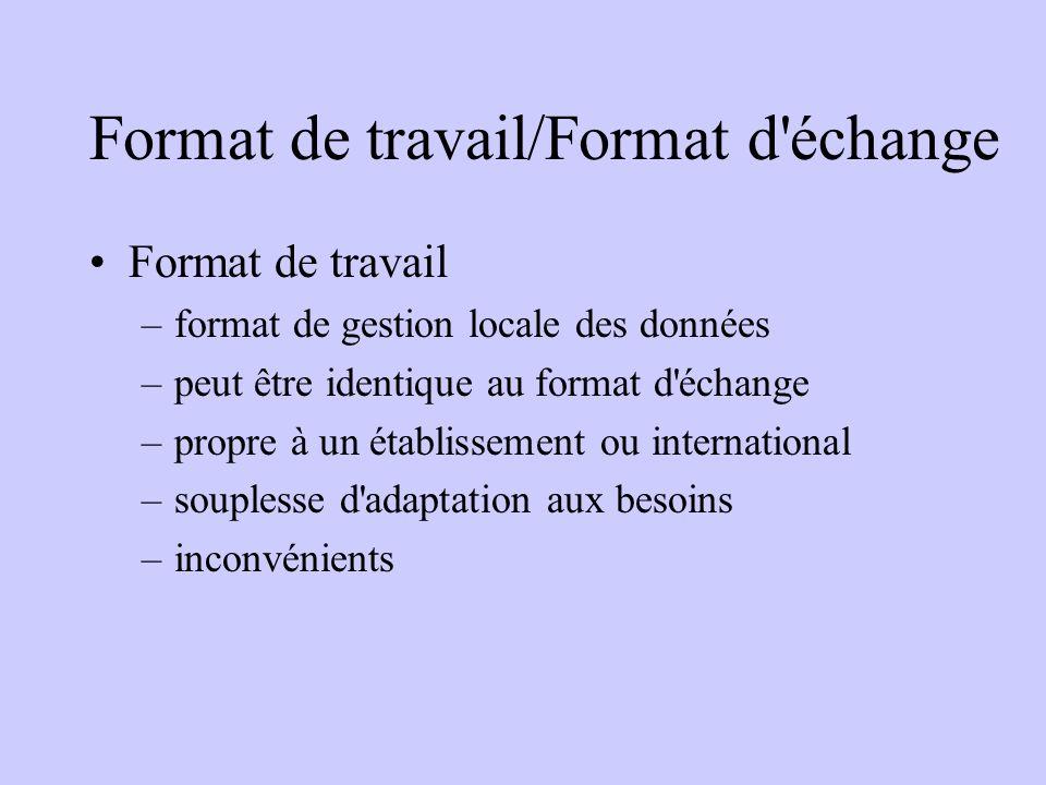 Format de travail/Format d échange Format de travail –format de gestion locale des données –peut être identique au format d échange –propre à un établissement ou international –souplesse d adaptation aux besoins –inconvénients