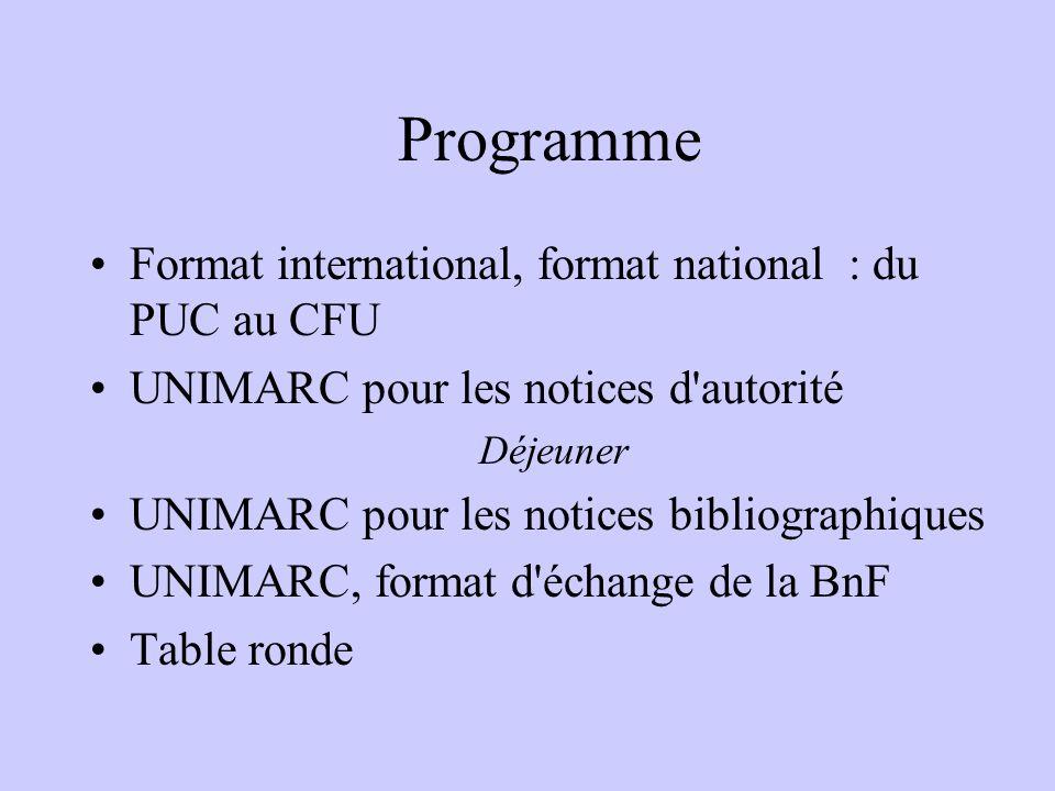 Programme Format international, format national : du PUC au CFU UNIMARC pour les notices d autorité Déjeuner UNIMARC pour les notices bibliographiques UNIMARC, format d échange de la BnF Table ronde
