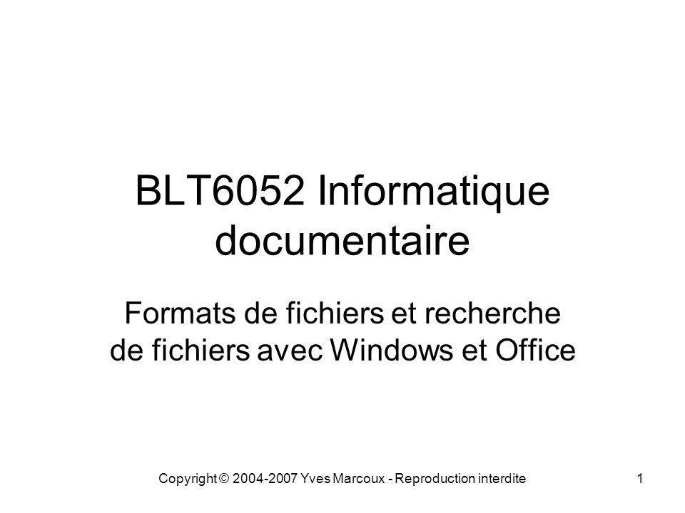 Copyright © 2004-2007 Yves Marcoux - Reproduction interdite1 BLT6052 Informatique documentaire Formats de fichiers et recherche de fichiers avec Windows et Office