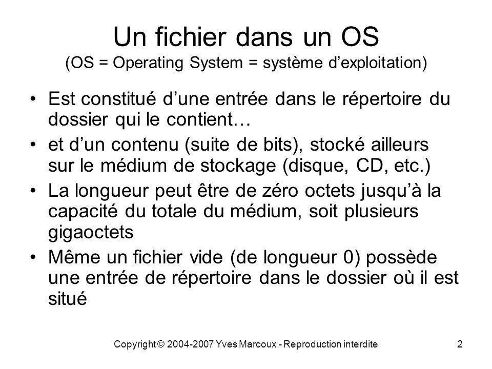 Copyright © 2004-2007 Yves Marcoux - Reproduction interdite23 Unités de mesure pour la taille des fichiers 1 octet = 8 bits 1 kilo-octet (ko) = 1000 octets 1 mégaoctet (Mo) = 1000 kilo-octets 1 gigaoctet (Go) = 1000 méga-octets 1 téraoctet (To) = 1000 giga-octets Préfixes du Système International (SI)