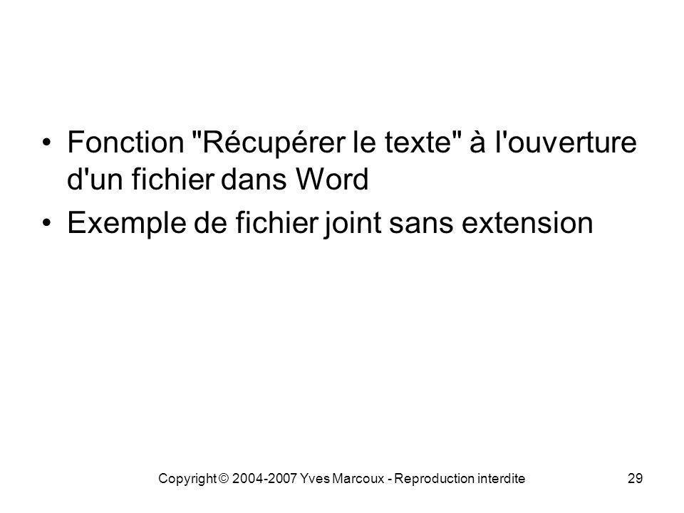 Copyright © 2004-2007 Yves Marcoux - Reproduction interdite29 Fonction Récupérer le texte à l ouverture d un fichier dans Word Exemple de fichier joint sans extension
