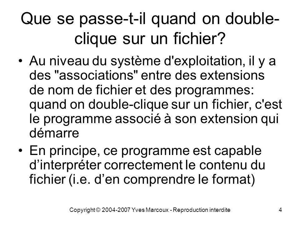 Copyright © 2004-2007 Yves Marcoux - Reproduction interdite15 (suite) Recherche dans des fichiers portant l extension.txt –OK si ce sont des fichiers texte selon le jeu de caractères Windows ou un des trois jeux Unicode standard –Autrement: n importe quoi.