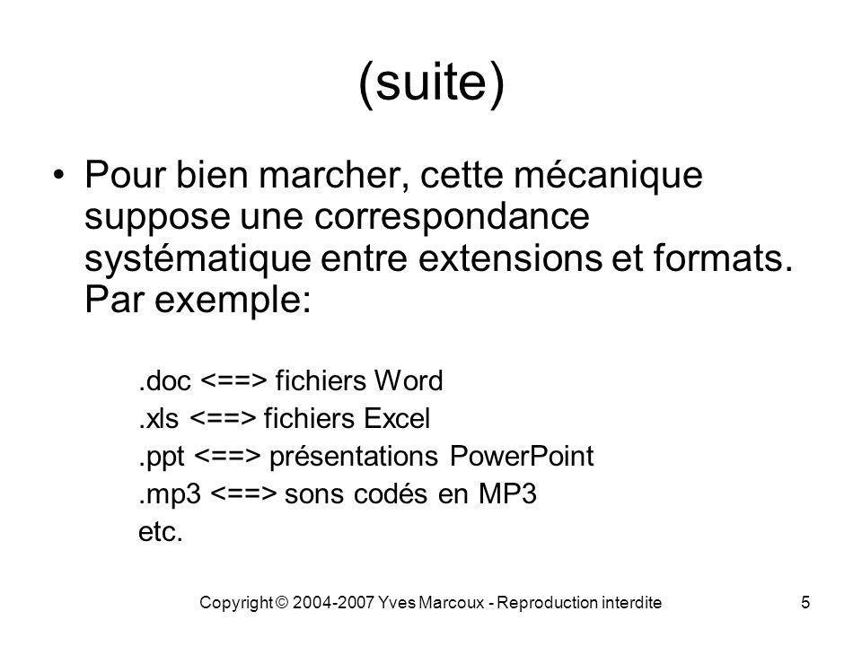 Copyright © 2004-2007 Yves Marcoux - Reproduction interdite26 Recherche avancée d Office Accessible à partir de toutes les composantes d Office (Fichier => Ouvrir => Outils => Rechercher) Opérations de recherche sophistiquées (opérateurs booléens, caractères génériques, mots vides, etc.) Liste de mots vides: Office-2003-mots- vides.txt (non modifiable)Office-2003-mots- vides.txt