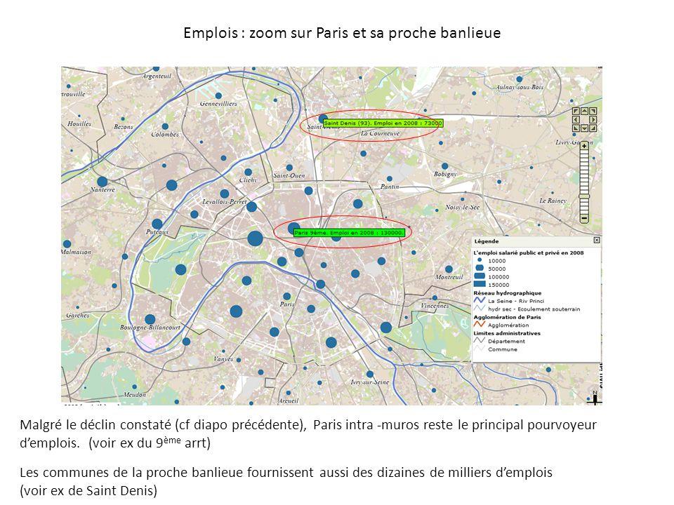 Emplois : zoom sur Paris et sa proche banlieue Malgré le déclin constaté (cf diapo précédente), Paris intra -muros reste le principal pourvoyeur d'emplois.