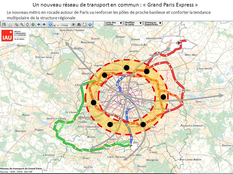 Un nouveau réseau de transport en commun : « Grand Paris Express » Le nouveau métro en rocade autour de Paris va renforcer les pôles de proche banlieue et conforter la tendance multipolaire de la structure régionale