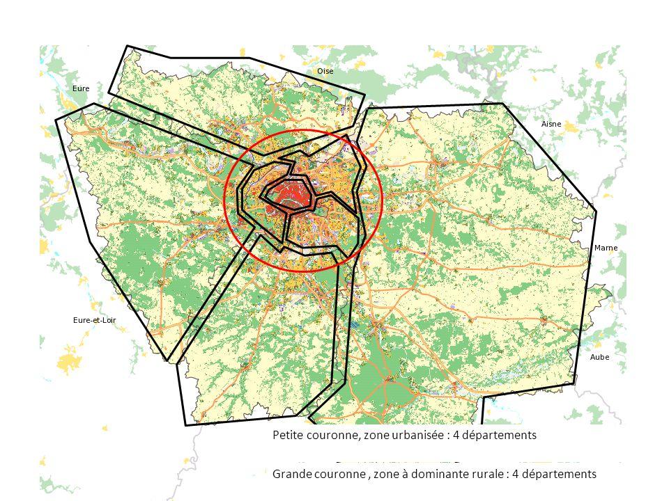 Grande couronne, zone à dominante rurale : 4 départements Petite couronne, zone urbanisée : 4 départements