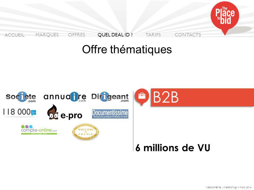 6 millions de VU B2B Médiamétrie //NetRatings – mars 2014 ACCUEIL MARQUES OFFRES CONTACTS QUEL DEAL ID .