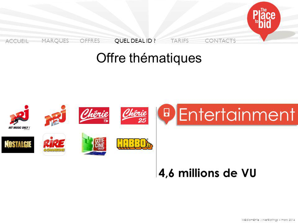 4,6 millions de VU Entertainment ACCUEIL MARQUES OFFRES CONTACTS QUEL DEAL ID .