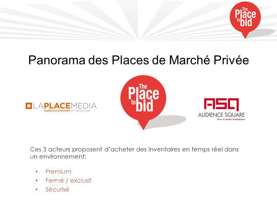 Panorama des Places de Marché Privée Ces 3 acteurs proposent d'acheter des inventaires en temps réel dans un environnement: Premium Fermé / exclusif Sécurisé