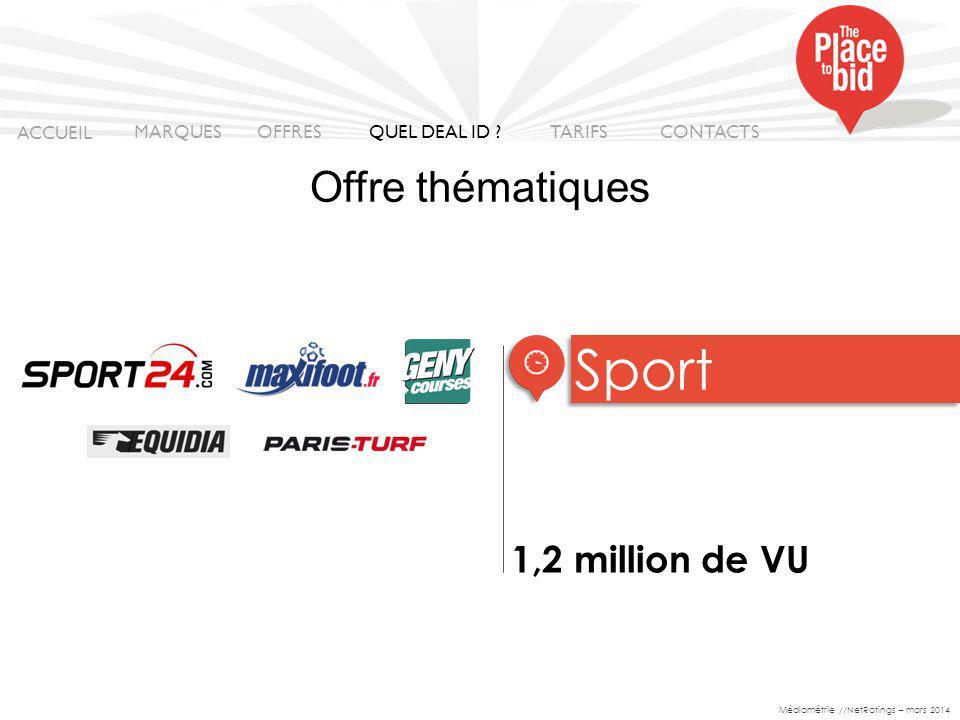 1,2 million de VU Sport ACCUEIL MARQUES OFFRES CONTACTS QUEL DEAL ID .