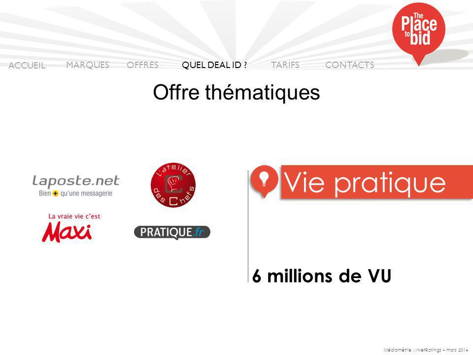 6 millions de VU Vie pratique ACCUEIL MARQUES OFFRES CONTACTS QUEL DEAL ID .