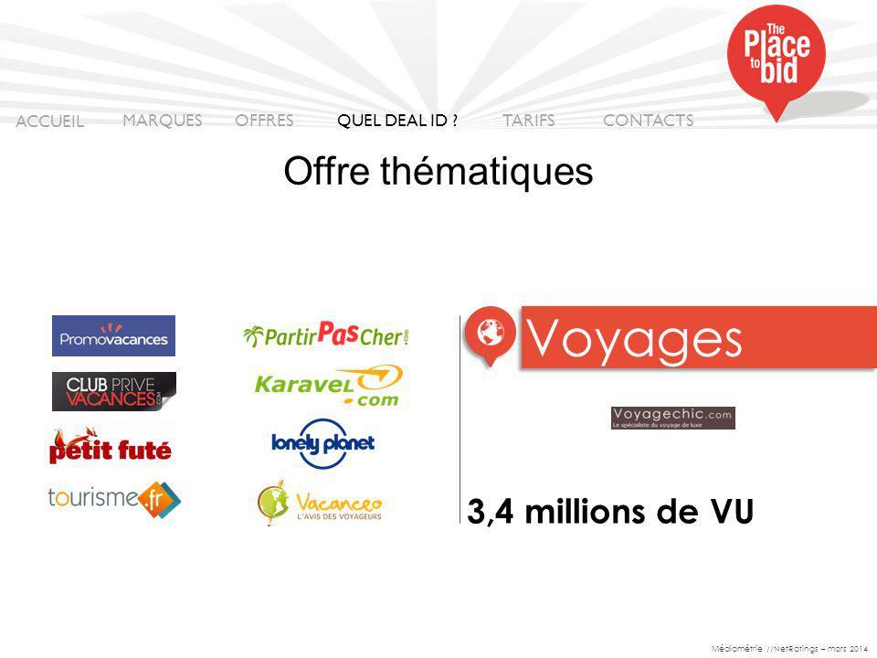 3,4 millions de VU Voyages ACCUEIL MARQUES OFFRES CONTACTS QUEL DEAL ID .