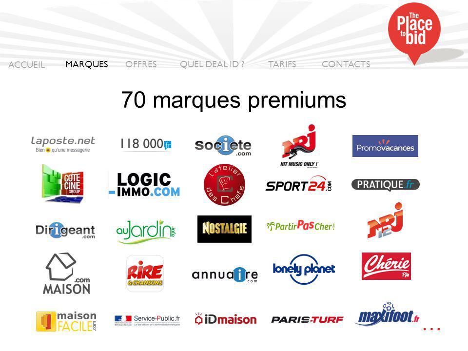 70 marques premiums ACCUEIL MARQUES OFFRES CONTACTS QUEL DEAL ID ? TARIFS …