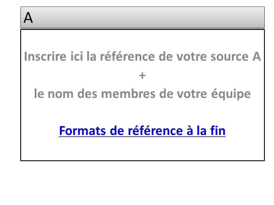 A A Inscrire ici la référence de votre source A + le nom des membres de votre équipe Formats de référence à la fin