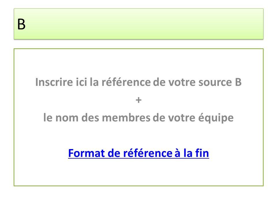 B B Inscrire ici la référence de votre source B + le nom des membres de votre équipe Format de référence à la fin