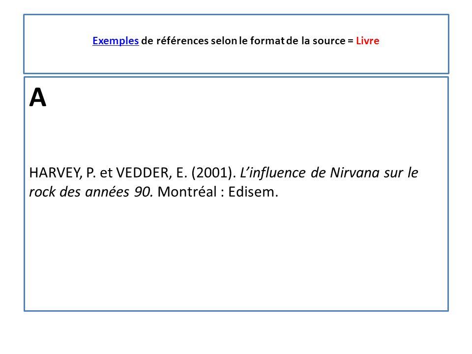 ExemplesExemples de références selon le format de la source = Livre A HARVEY, P.