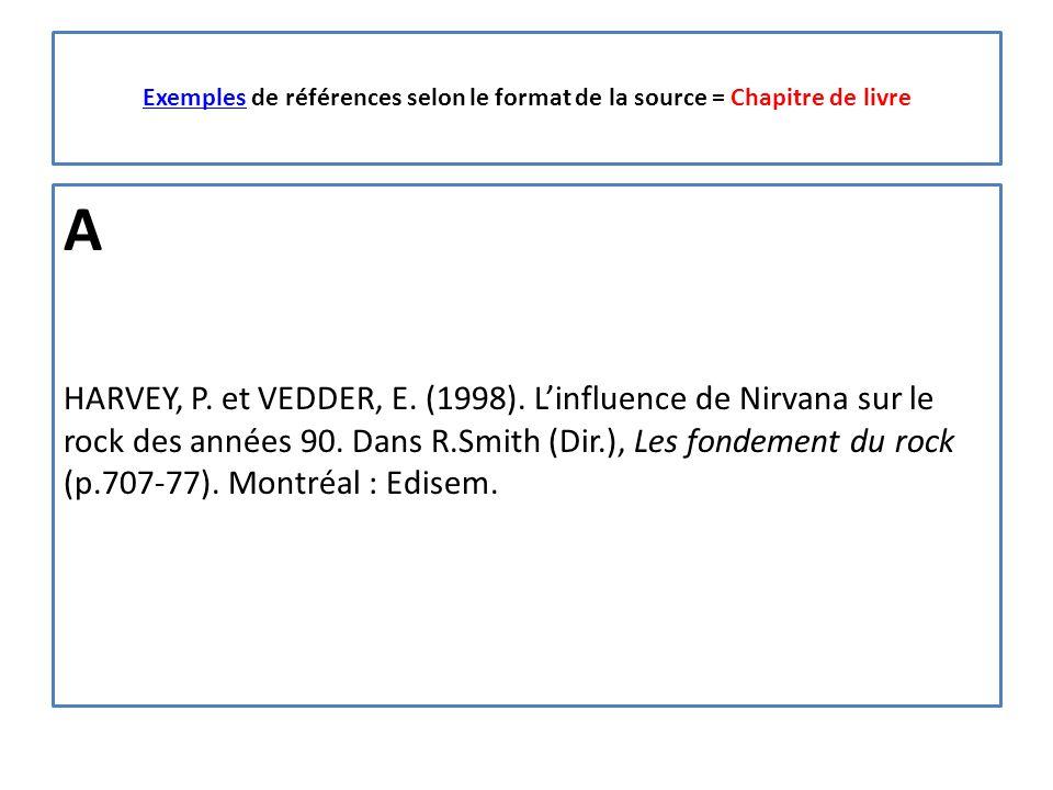 ExemplesExemples de références selon le format de la source = Chapitre de livre A HARVEY, P.