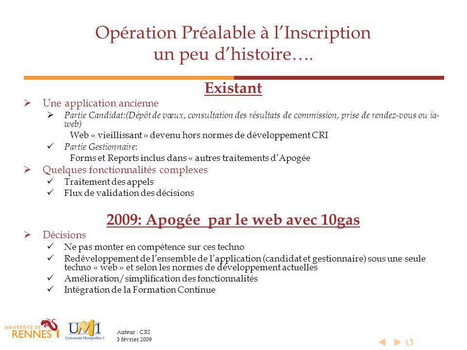  Auteur : CRI 3 février 2009 Opération Préalable à l'Inscription un peu d'histoire….