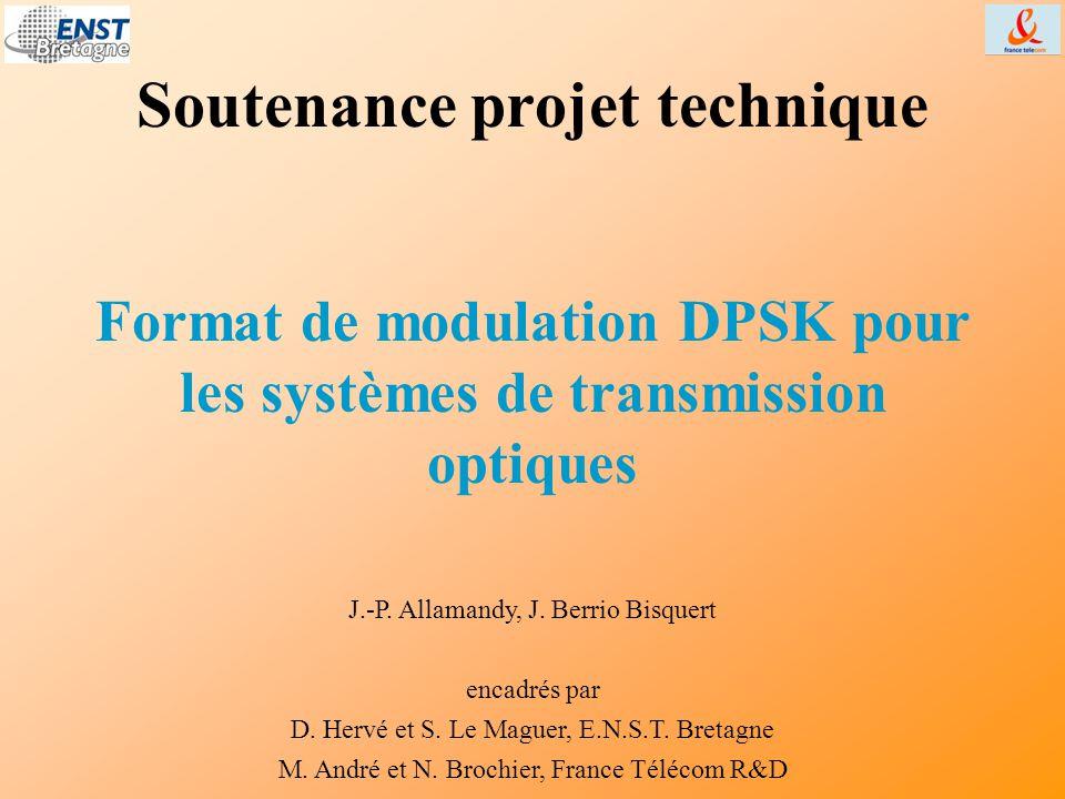 Introduction Progrès des transmissions optiques : –nouvelles techniques (WDM) –nouvelles performances (10 Gbit/s par canal) en modulation d'intensité OOK (« On/Off Keying ») –pour diminuer les coûts, les réseaux sous-marins utilisent de nouvelles impulsions en modulation d'intensité : le RZ (« Return to Zero ») – pour augmenter les performances : la modulation de phase différentielle (DPSK), un nouveau format mis au point (1990's, 2000's) mais pas encore utilisé.