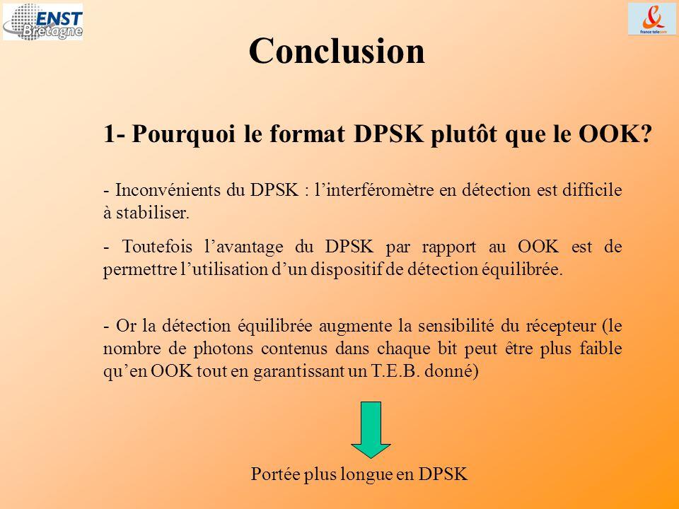 Conclusion - Toutefois l'avantage du DPSK par rapport au OOK est de permettre l'utilisation d'un dispositif de détection équilibrée. 1- Pourquoi le fo