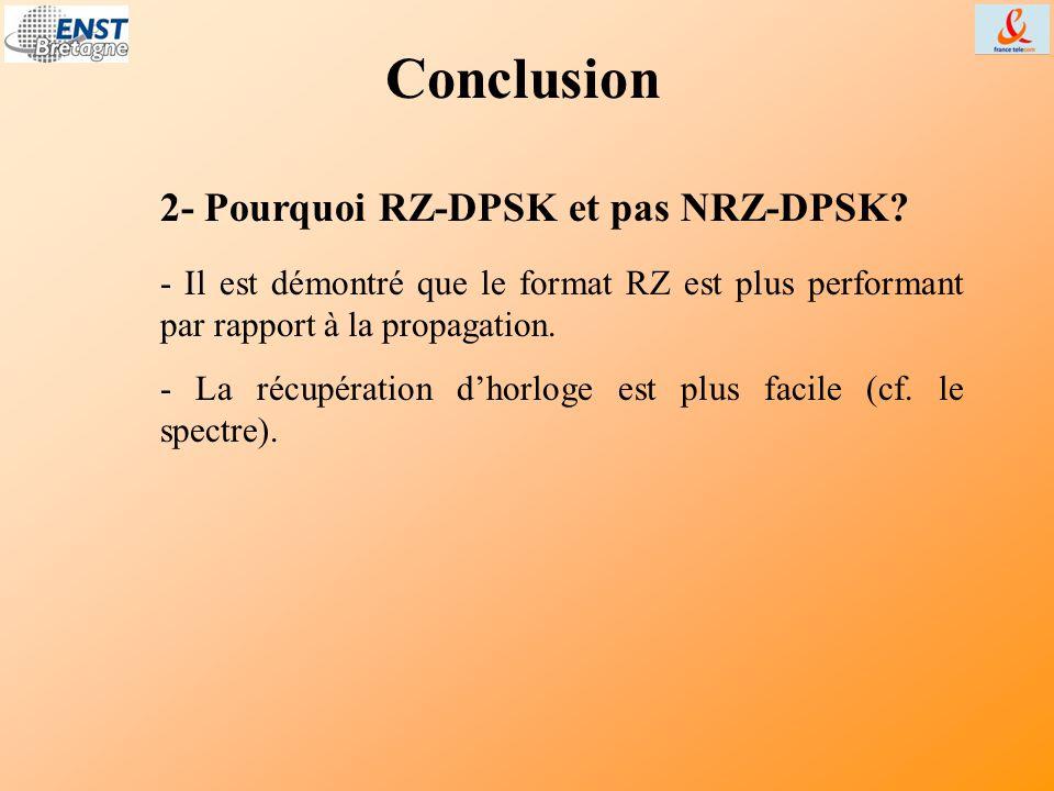 Conclusion - Il est démontré que le format RZ est plus performant par rapport à la propagation. - La récupération d'horloge est plus facile (cf. le sp
