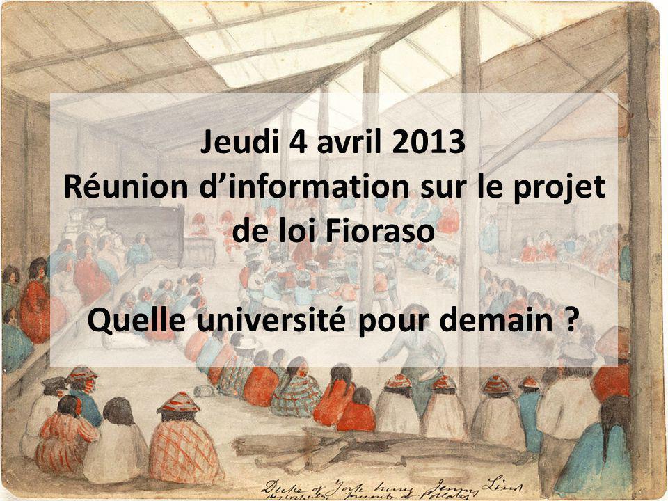 Jeudi 4 avril 2013 Réunion d'information sur le projet de loi Fioraso Quelle université pour demain