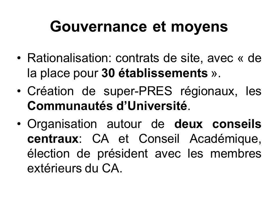 Gouvernance et moyens Rationalisation: contrats de site, avec « de la place pour 30 établissements ». Création de super-PRES régionaux, les Communauté