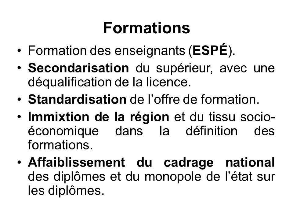 Formations Formation des enseignants (ESPÉ). Secondarisation du supérieur, avec une déqualification de la licence. Standardisation de l'offre de forma
