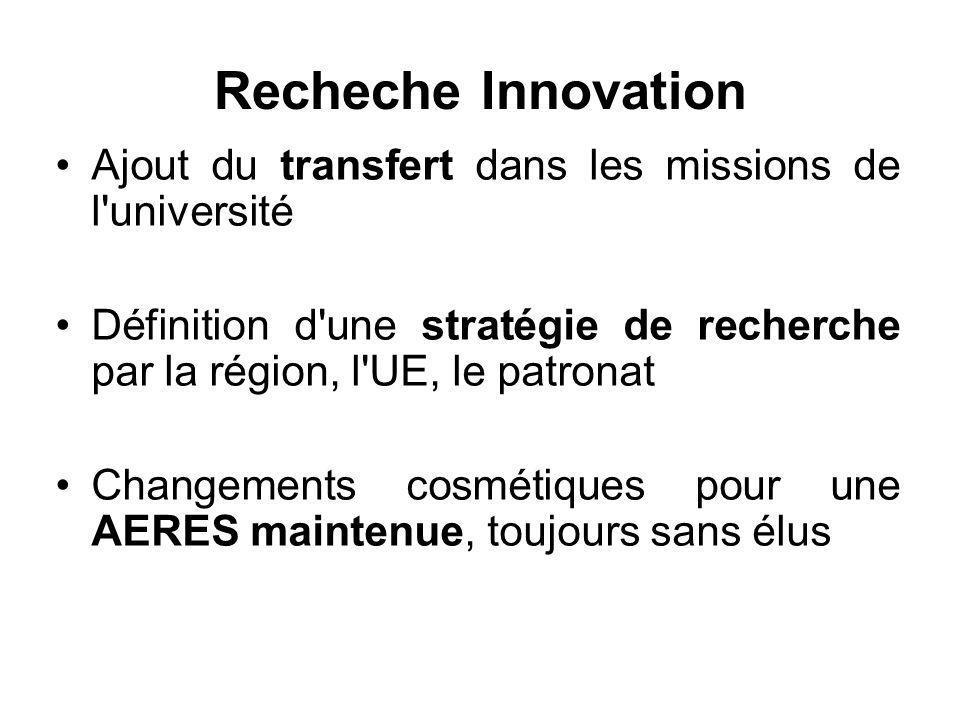 Recheche Innovation Ajout du transfert dans les missions de l université Définition d une stratégie de recherche par la région, l UE, le patronat Changements cosmétiques pour une AERES maintenue, toujours sans élus
