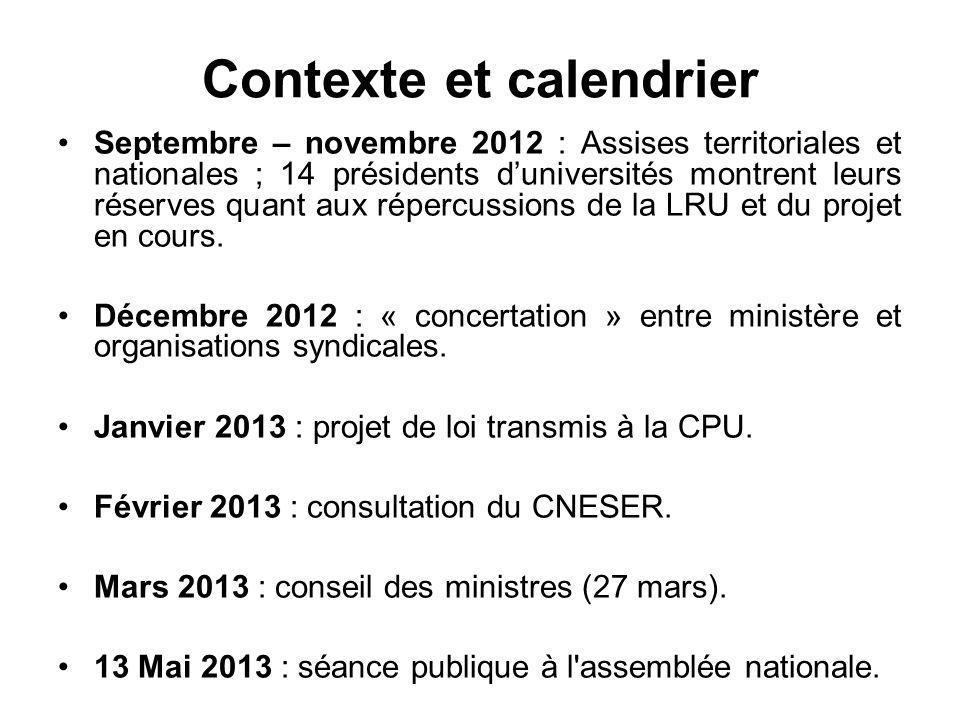 Contexte et calendrier Septembre – novembre 2012 : Assises territoriales et nationales ; 14 présidents d'universités montrent leurs réserves quant aux répercussions de la LRU et du projet en cours.