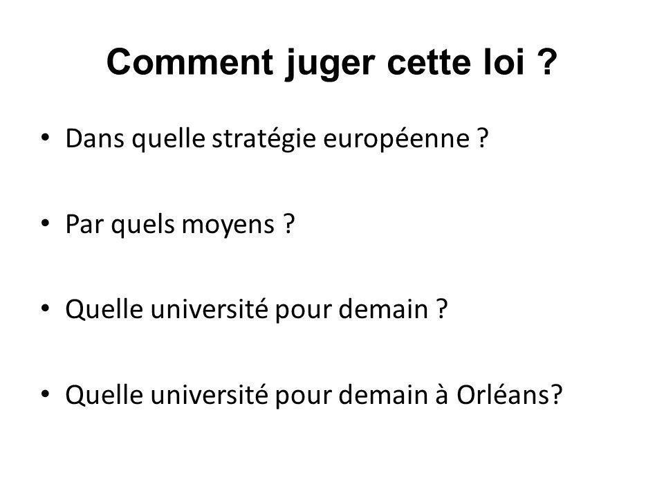 Comment juger cette loi ? Dans quelle stratégie européenne ? Par quels moyens ? Quelle université pour demain ? Quelle université pour demain à Orléan