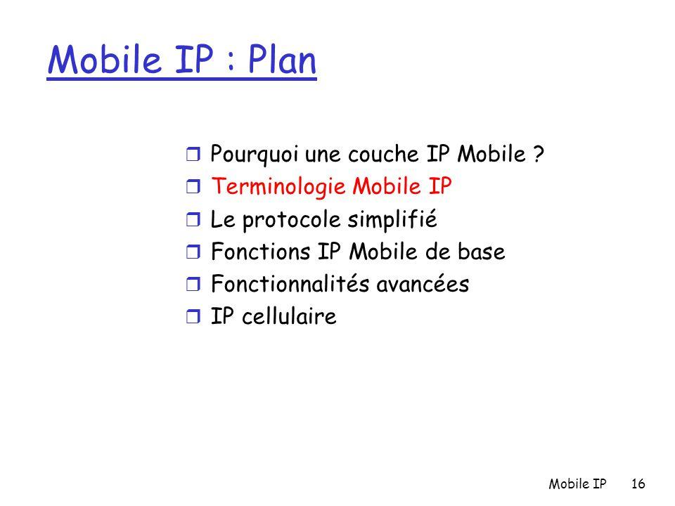 Mobile IP16 Mobile IP : Plan r Pourquoi une couche IP Mobile ? r Terminologie Mobile IP r Le protocole simplifié r Fonctions IP Mobile de base r Fonct