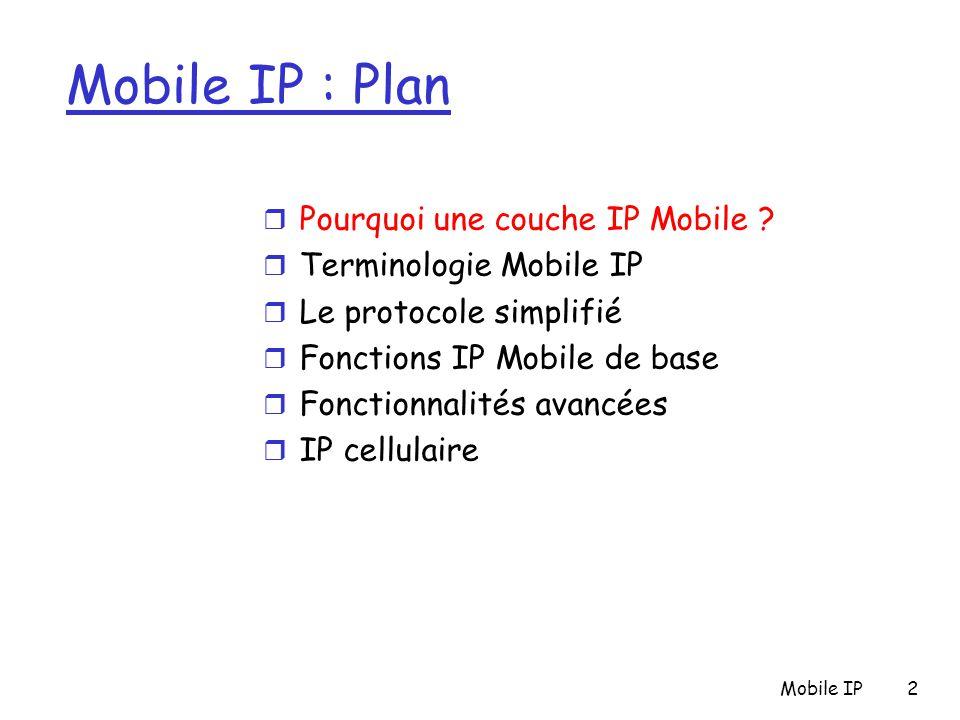 Mobile IP2 Mobile IP : Plan r Pourquoi une couche IP Mobile ? r Terminologie Mobile IP r Le protocole simplifié r Fonctions IP Mobile de base r Foncti