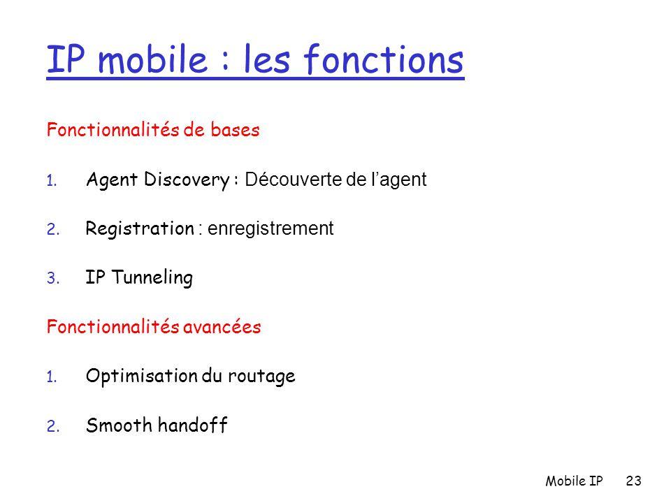 Mobile IP23 IP mobile : les fonctions Fonctionnalités de bases 1. Agent Discovery : Découverte de l'agent 2. Registration : enregistrement 3. IP Tunne