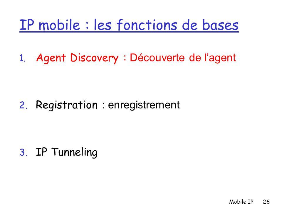 Mobile IP26 IP mobile : les fonctions de bases 1. Agent Discovery : Découverte de l'agent 2. Registration : enregistrement 3. IP Tunneling