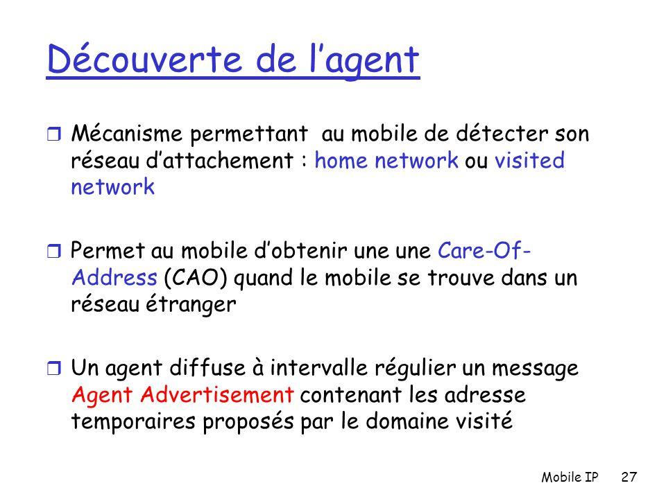 Mobile IP27 Découverte de l'agent r Mécanisme permettant au mobile de détecter son réseau d'attachement : home network ou visited network r Permet au