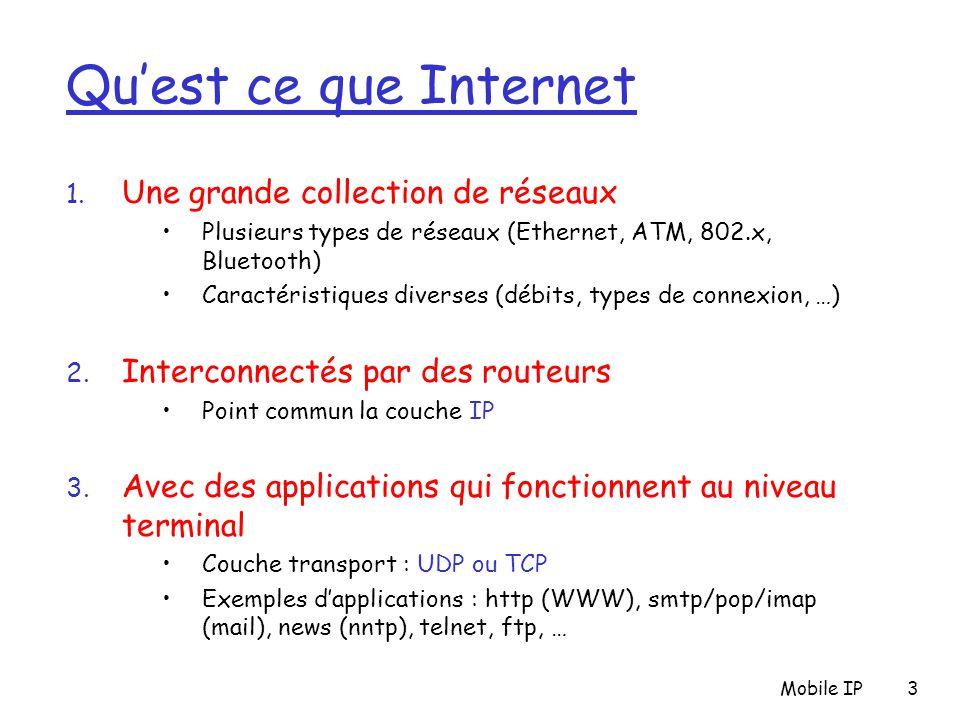 Mobile IP54 Optimisation de routage : Commentaires (1) r Routage Indirect : m MN utilise 2 adresses permanent address: utilisé par le correpondant (la localisation du MN est transparente pour le correspondant) care-of-address: utilisé par le HA pour transférer les datagramme au MN m Le MN peut jouer le rôle du FA m Routage triangulaire : correspondant-home-network-MN Souvent inefficace m Si le MN change une nouvelle fois de réseau Refaire une nouvelle procédure (demande de COA, enregistrement, …) Les paquets continuent d'arriver au MN avec la nouvelle COA m Mobilité : les connections établies sont maintenues !