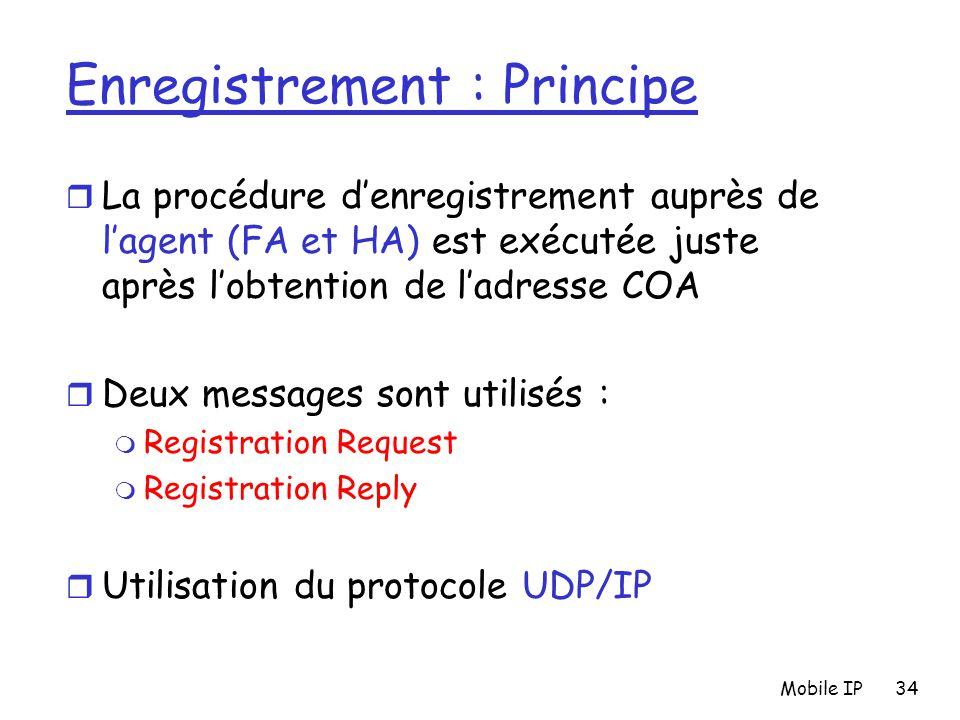 Mobile IP34 Enregistrement : Principe r La procédure d'enregistrement auprès de l'agent (FA et HA) est exécutée juste après l'obtention de l'adresse C