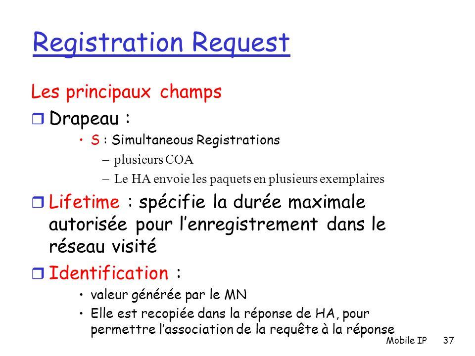 Mobile IP37 Registration Request Les principaux champs r Drapeau : S : Simultaneous Registrations –plusieurs COA –Le HA envoie les paquets en plusieur