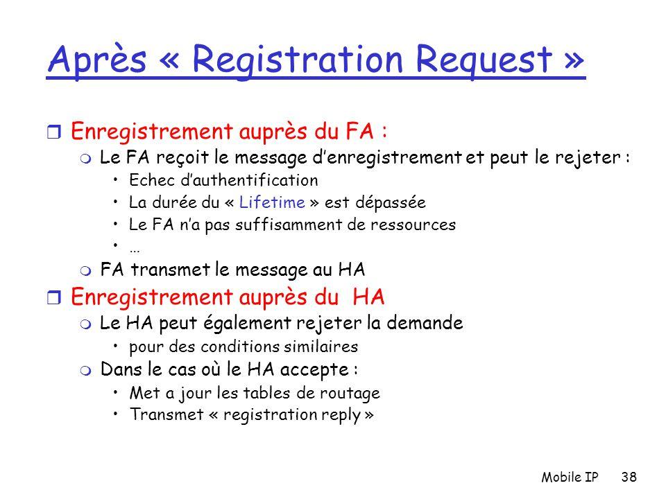 Mobile IP38 Après « Registration Request » r Enregistrement auprès du FA : m Le FA reçoit le message d'enregistrement et peut le rejeter : Echec d'aut