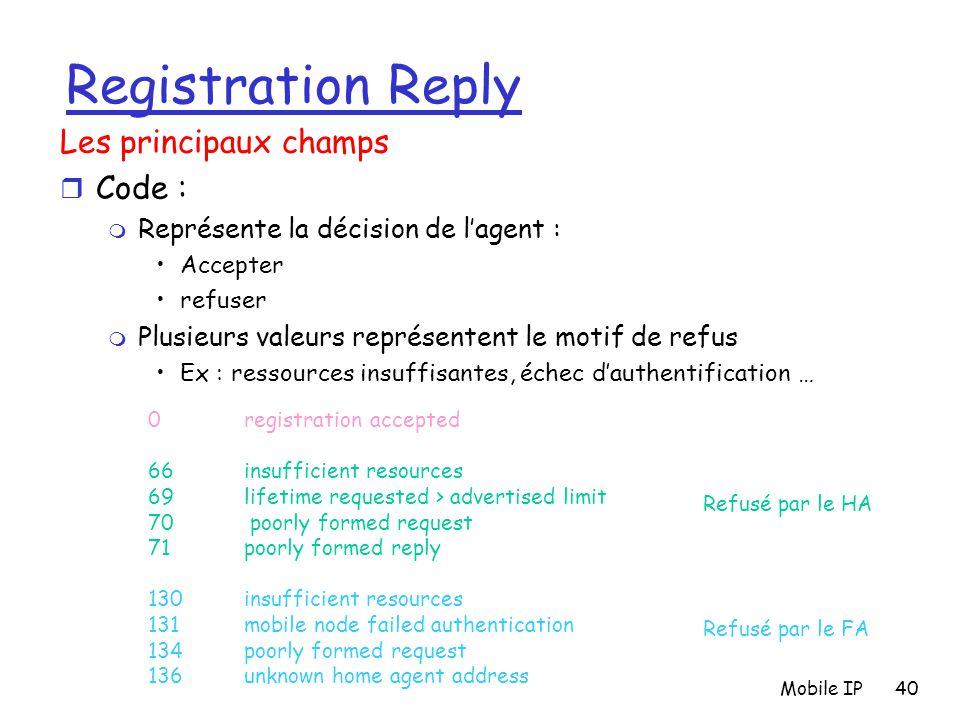 Mobile IP40 Registration Reply Les principaux champs r Code : m Représente la décision de l'agent : Accepter refuser m Plusieurs valeurs représentent