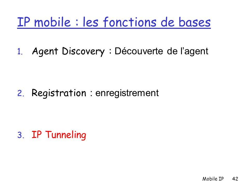 Mobile IP42 IP mobile : les fonctions de bases 1. Agent Discovery : Découverte de l'agent 2. Registration : enregistrement 3. IP Tunneling