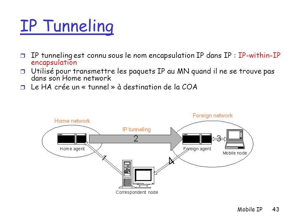 Mobile IP43 IP Tunneling r IP tunneling est connu sous le nom encapsulation IP dans IP : IP-within-IP encapsulation r Utilisé pour transmettre les paq
