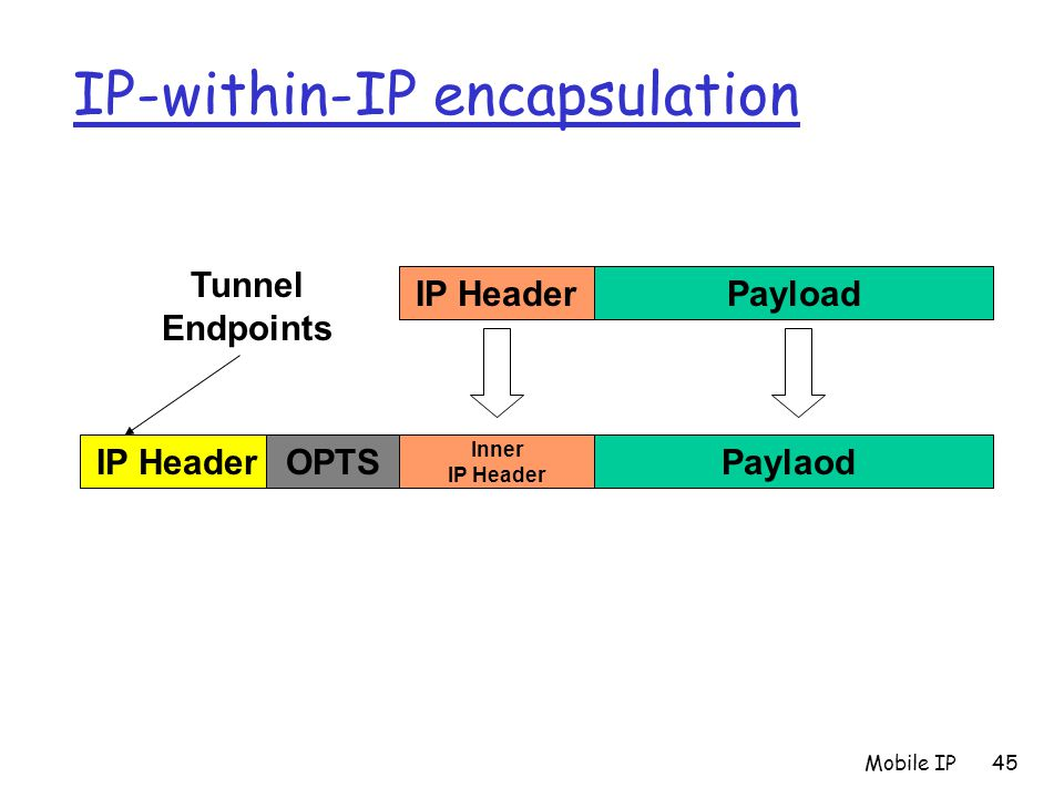 Mobile IP45 IP-within-IP encapsulation IP HeaderOPTS Inner IP Header Paylaod IP HeaderPayload Tunnel Endpoints