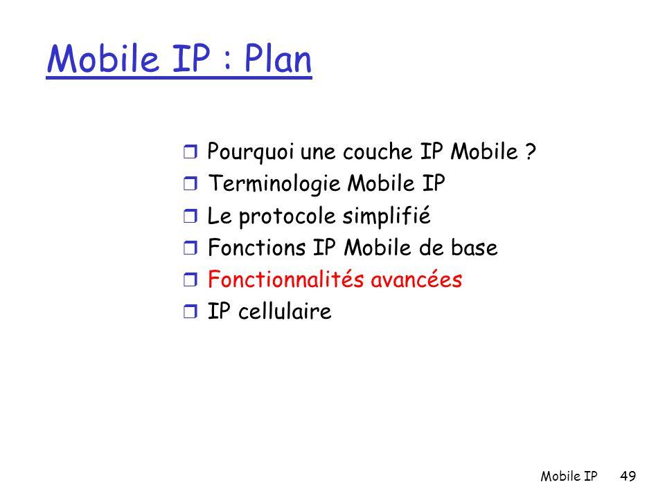 Mobile IP49 Mobile IP : Plan r Pourquoi une couche IP Mobile ? r Terminologie Mobile IP r Le protocole simplifié r Fonctions IP Mobile de base r Fonct