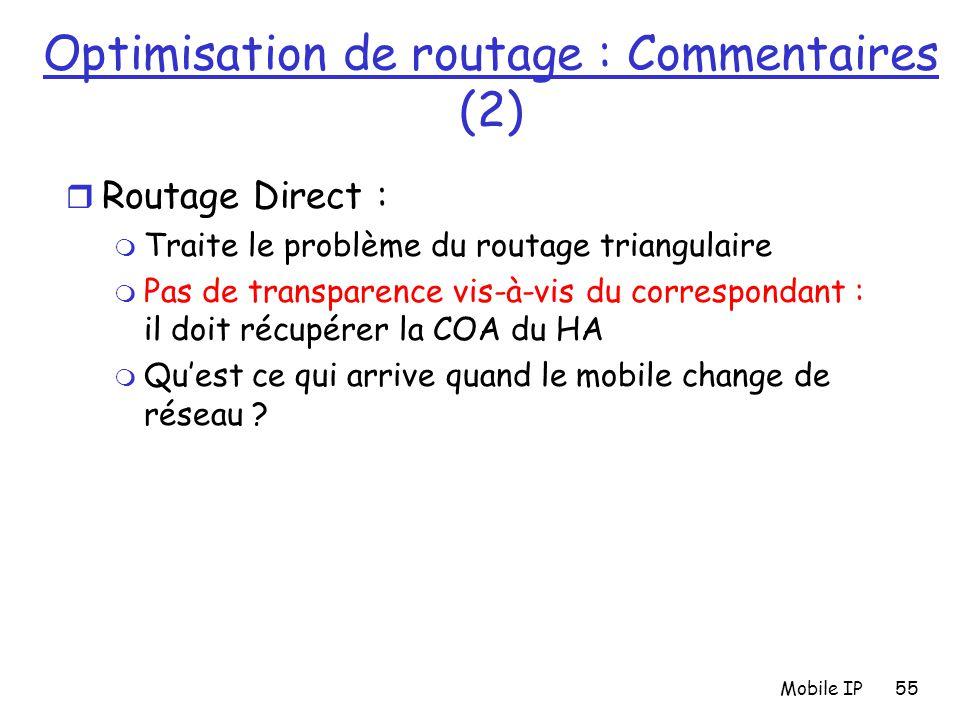 Mobile IP55 Optimisation de routage : Commentaires (2) r Routage Direct : m Traite le problème du routage triangulaire m Pas de transparence vis-à-vis