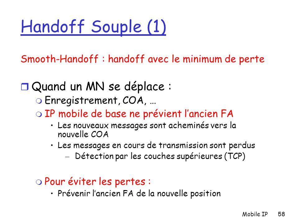 Mobile IP58 Handoff Souple (1) Smooth-Handoff : handoff avec le minimum de perte r Quand un MN se déplace : m Enregistrement, COA, … m IP mobile de ba
