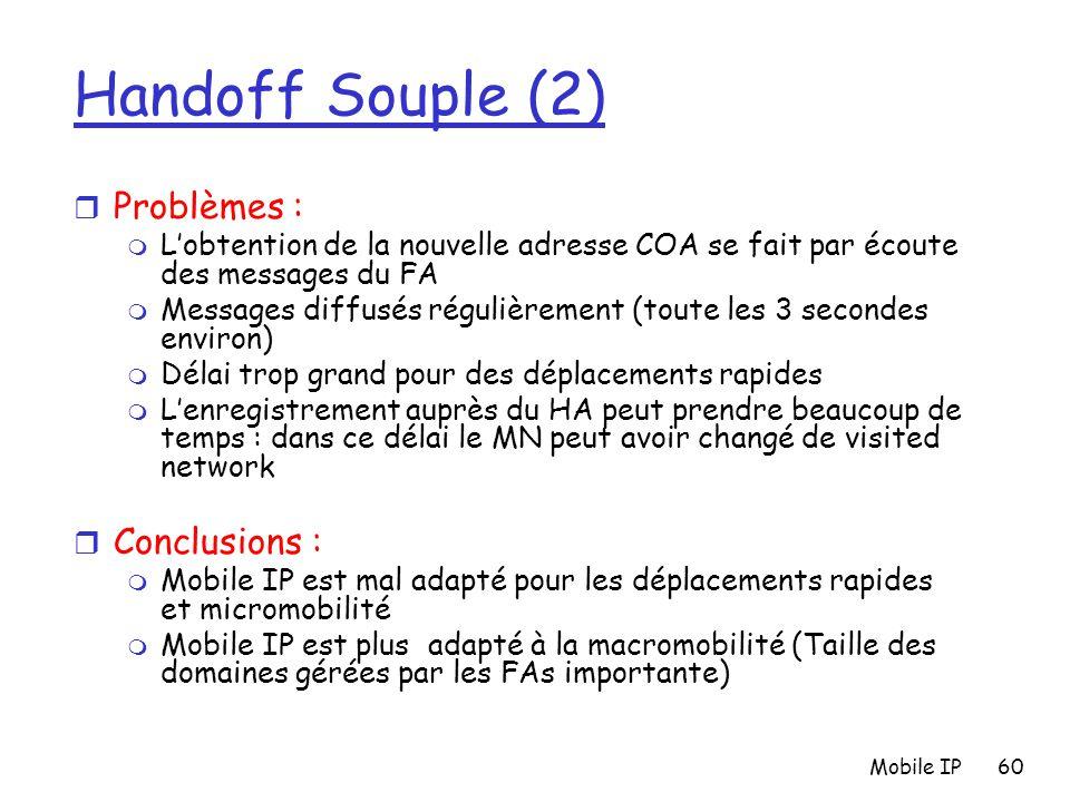 Mobile IP60 Handoff Souple (2) r Problèmes : m L'obtention de la nouvelle adresse COA se fait par écoute des messages du FA m Messages diffusés réguli