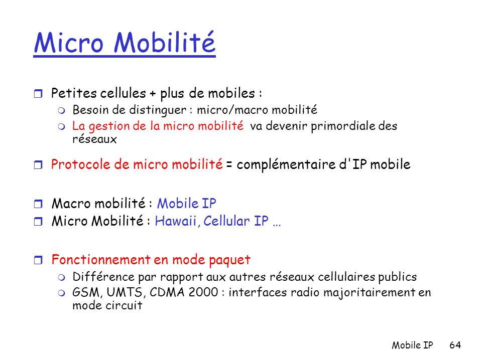 Mobile IP64 Micro Mobilité r Petites cellules + plus de mobiles : m Besoin de distinguer : micro/macro mobilité m La gestion de la micro mobilité va d